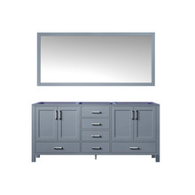 Lexora Jacques 72 Inch Dark Grey Double Vanity, no Top and 70 Inch Mirror