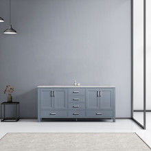 Lexora Jacques 72 Inch Dark Grey Double Vanity, White Carrara Marble Top, White Square Sinks and no Mirror