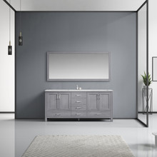 Lexora Jacques 72 Inch Distressed Grey Double Vanity, White Carrara Marble Top, White Square Sinks and 70 Inch Mirror