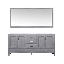 Lexora Jacques 72 Inch Distressed Grey Double Vanity, no Top and 70 Inch Mirror
