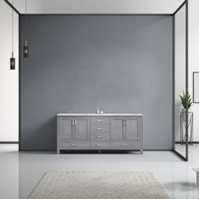 Lexora Jacques 72 Inch Distressed Grey Double Vanity, White Carrara Marble Top, White Square Sinks and no Mirror