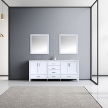 Lexora Jacques 80 Inch White Double Vanity, White Carrara Marble Top, White Square Sinks and 30 Inch Mirrors