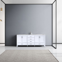 Lexora Jacques 80 Inch White Double Vanity, White Carrara Marble Top, White Square Sinks and no Mirror