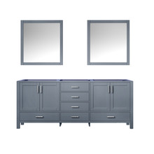 Lexora Jacques 80 Inch Dark Grey Double Vanity, no Top and 30 Inch Mirrors