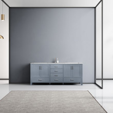 Lexora Jacques 80 Inch Dark Grey Double Vanity, White Carrara Marble Top, White Square Sinks and no Mirror