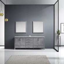 Lexora Jacques 80 Inch Distressed Grey Double Vanity, White Carrara Marble Top, White Square Sinks and 30 Inch Mirrors