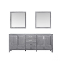 Lexora Jacques 80 Inch Distressed Grey Double Vanity, no Top and 30 Inch Mirrors