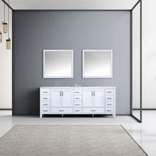 Lexora Jacques 84 Inch White Double Vanity, White Carrara Marble Top, White Square Sinks and 34 Inch Mirrors
