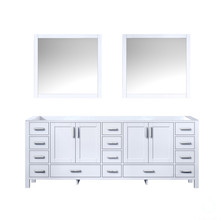 Lexora Jacques 84 Inch White Double Vanity, no Top and 34 Inch Mirrors