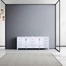 Lexora Jacques 84 Inch White Double Vanity, White Carrara Marble Top, White Square Sinks and no Mirror