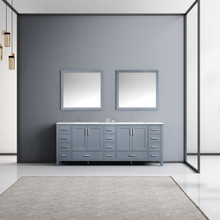 Lexora Jacques 84 Inch Dark Grey Double Vanity, White Carrara Marble Top, White Square Sinks and 34 Inch Mirrors