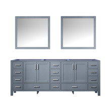 Lexora Jacques 84 Inch Dark Grey Double Vanity, no Top and 34 Inch Mirrors