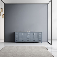 Lexora Jacques 84 Inch Dark Grey Double Vanity, White Carrara Marble Top, White Square Sinks and no Mirror