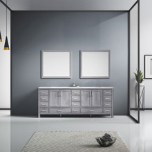Lexora Jacques 84 Inch Distressed Grey Double Vanity, White Carrara Marble Top, White Square Sinks and 34 Inch Mirrors