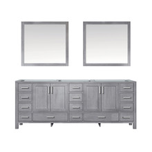 Lexora Jacques 84 Inch Distressed Grey Double Vanity, no Top and 34 Inch Mirrors