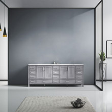 Lexora Jacques 84 Inch Distressed Grey Double Vanity, White Carrara Marble Top, White Square Sinks and no Mirror