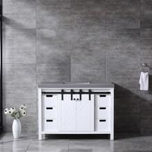 Lexora Marsyas 48 Inch White Single Vanity, Grey Quartz Top, White Square Sink and no Mirror
