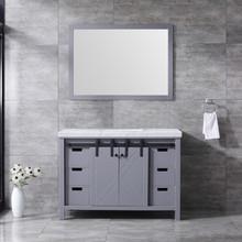 Lexora Marsyas 48 Inch Dark Grey Single Vanity, White Carrara Marble Top, White Square Sink and 44 Inch Mirror