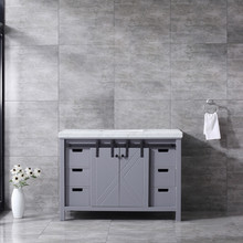 Lexora Marsyas 48 Inch Dark Grey Single Vanity, White Carrara Marble Top, White Square Sink and no Mirror