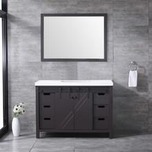 Lexora Marsyas 48 Inch Brown Single Vanity, White Quartz Top, White Square Sink and 44 Inch Mirror