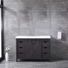 Lexora Marsyas 48 Inch Brown Single Vanity, White Quartz Top, White Square Sink and no Mirror