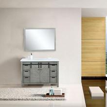 Lexora Marsyas 48 Inch Ash Grey Single Vanity, White Quartz Top, White Square Sink and 44 Inch Mirror