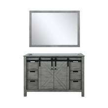 Lexora Marsyas 48 Inch Ash Grey Single Vanity, no Top and 44 Inch Mirror