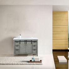 Lexora Marsyas 48 Inch Ash Grey Single Vanity, White Quartz Top, White Square Sink and no Mirror