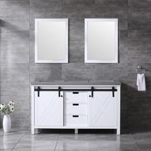 Lexora Marsyas 60 Inch White Double Vanity, Grey Quartz Top, White Square Sinks and 24 Inch Mirrors