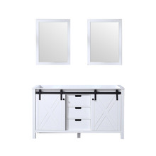 Lexora Marsyas 60 Inch White Double Vanity, no Top and 24 Inch Mirrors