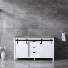 Lexora Marsyas 60 Inch White Double Vanity, Grey Quartz Top, White Square Sinks and no Mirror