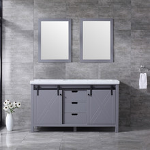 Lexora Marsyas 60 Inch Dark Grey Double Vanity, White Carrara Marble Top, White Square Sinks and 24 Inch Mirrors