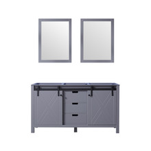 Lexora Marsyas 60 Inch Dark Grey Double Vanity, no Top and 24 Inch Mirrors