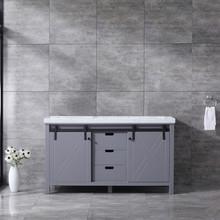 Lexora Marsyas 60 Inch Dark Grey Double Vanity, White Carrara Marble Top, White Square Sinks and no Mirror