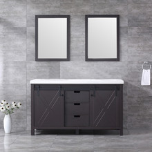 Lexora Marsyas 60 Inch Brown Double Vanity, White Quartz Top, White Square Sinks and 24 Inch Mirrors