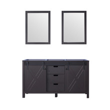 Lexora Marsyas 60 Inch Brown Double Vanity, no Top and 24 Inch Mirrors
