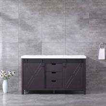Lexora Marsyas 60 Inch Brown Double Vanity, White Quartz Top, White Square Sinks and no Mirror