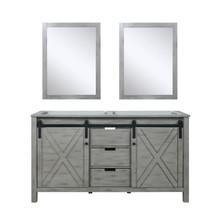 Lexora Marsyas 60 Inch Ash Grey Double Vanity, no Top and 24 Inch Mirrors