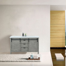 Lexora Marsyas 60 Inch Ash Grey Double Vanity, White Quartz Top, White Square Sinks and no Mirror