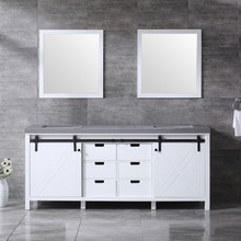 Lexora Marsyas 80 Inch White Double Vanity, Grey Quartz Top, White Square Sinks and 30 Inch Mirrors