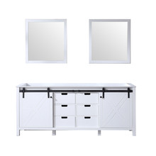 Lexora Marsyas 80 Inch White Double Vanity, no Top and 30 Inch Mirrors