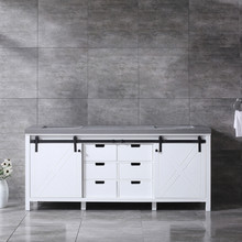 Lexora Marsyas 80 Inch White Double Vanity, Grey Quartz Top, White Square Sinks and no Mirror