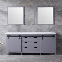 Lexora Marsyas 80 Inch Dark Grey Double Vanity, White Carrara Marble Top, White Square Sinks and 30 Inch Mirrors