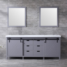 Lexora Marsyas 80 Inch Dark Grey Double Vanity, White Carrara Marble Top, White Square Sinks and 30 Inch Mirrors