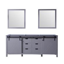 Lexora Marsyas 80 Inch Dark Grey Double Vanity, no Top and 30 Inch Mirrors