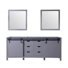 Lexora Marsyas 80 Inch Dark Grey Double Vanity, no Top and 30 Inch Mirrors