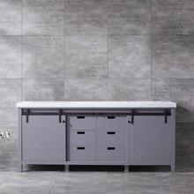 Lexora Marsyas 80 Inch Dark Grey Double Vanity, White Carrara Marble Top, White Square Sinks and no Mirror