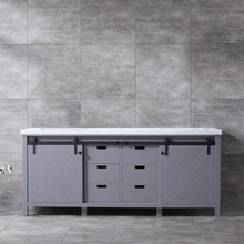 Lexora Marsyas 80 Inch Dark Grey Double Vanity, White Carrara Marble Top, White Square Sinks and no Mirror