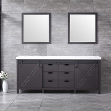 Lexora Marsyas 80 Inch Brown Double Vanity, White Quartz Top, White Square Sinks and 30 Inch Mirrors
