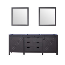 Lexora Marsyas 80 Inch Brown Double Vanity, no Top and 30 Inch Mirrors